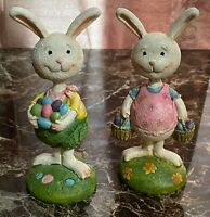 """Set of 2 Resin Easter Bunny Figurines 6"""" Tall AWESOME!"""