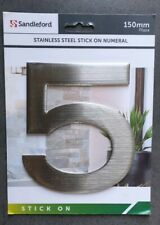 """Sandleford STAINLESS STEEL PLAZA NUMERAL """"5"""" 150mm Peel & Stick 3M SILVER New UK"""