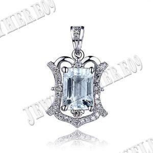 10K White Gold Cushion 7x5mm Engagement Jewelry Natural SI/H Diamonds Pendant