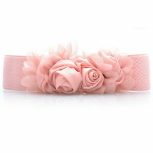 Women's Lace Rose Flower Buckle Stretch Belt Dress Decoration Elastic Waist Belt