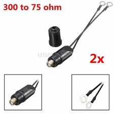 2x 300 Outdoor Antenna To 75 Ohm Coaxial Cable Matching Transformer UHF/VHF/FM