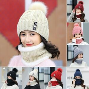 Womens Wool Thick Hat Neck Warmer Scarf Ski Autumn Winter Fashion Knitted Cap