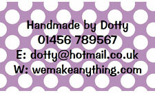 42 Large Personalised stickers Lilac Dot  / Address / Hobbies / labels