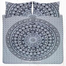 Black and White Mandala Elephant KING Size Bedding Bed Sheet Set Pillow Covers