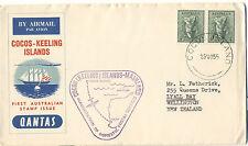 Cocos Islands 1955 FFC First Flight vol Perth Australia Domestic Postal services