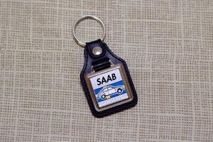 Saab 96 Keyring - Leatherette & Chrome Keytag