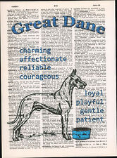 Great Dane Dog Trait Altered Art Print Decor Upcycled Vintage Dictionary Page