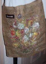 Handmade burlap shoulder bag original art purse women beach Trinidad Caribbean