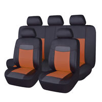 11Pcs Car seat covers PU leather universal bench split 40/60 50/50 60/40 Brown