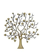 2x Heart Tree Branch Intricate 10cm Wood Craft Embelishments Laser Cut Shape MDF