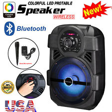 "BT Party Speaker System Bluetooth Big LED Portable Stereo 8"" Subwoofer Sound MIC"