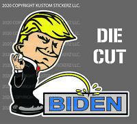 "2020 DONALD TRUMP CALVIN PEE Decal Bumper Sticker Anti-Biden - 4"" UV RESISTANT"