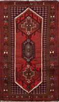 Geometric South-western Red 3x5 ft. Hamedan Area Rug Wool Hand-knotted Carpet