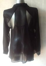 Valley Girl Sheer Black Long Sleeve Buttoned Shirt with Back Openings - Size 10
