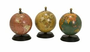 IMAX 73027-3 Antique Finish Mini Globe, Wooden Base (Set of 3)