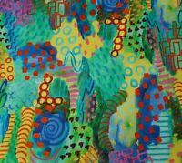 Majestic Owls BTY Kim Green P&B Textiles Green Blue Red Pink Yellow Graffiti