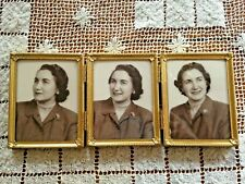 Vintage Daisy Finial Design Triple Hinged Solid Brass Photo Frame 3.25 X 4.25