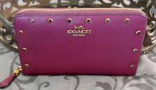 COACH ~Leather Studded CRYSTAL BORDER RIVETS Accordion Zip Wallet~BERRY~NWT $275