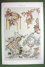 BAROQUE Painted Plaster Work Boucher Bruchsal Castle - 1880s Color Litho Print