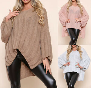 Ladies Womens Lagenlook Oversized Chunky Knit Jumper Casual Baggy Tops Plus Size