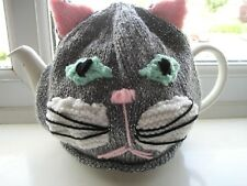 HAND KNITTED TEA COSY GREY CAT FOR MED POT. NEW.