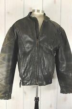 Vintage Leather Biker Moto Jacket Mens M Black Distressed Worn Cafe Racer Heavy