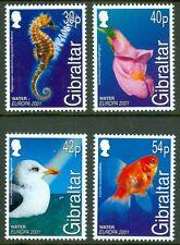 Hippocampe EUROPA 4 Timbres MNH 2001 Gibraltar Goldfish MOUETTE Snapdragon eau