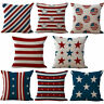 18'' Square Cotton Cushion Cover Throw Pillow Case USA Flag Home Sofa Decor