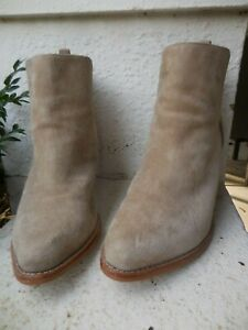 SOL SANA OATMEAL LEATHER ANKLE BOOTS HELL PULL ON VGC  38 7
