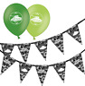 army urban camouflage birthday bunting & assorted green mix balloons pack of 5