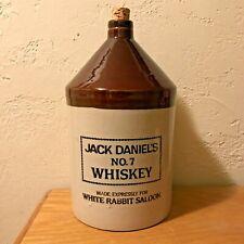 MINT Antique Jack Daniels White Rabbit Saloon 1 Gal Stoneware Whiskey Jug & Cork