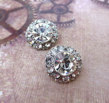 Small Rhinestone Shank Buttons Wedding Button,  size 14.5 mm,  pack of 2