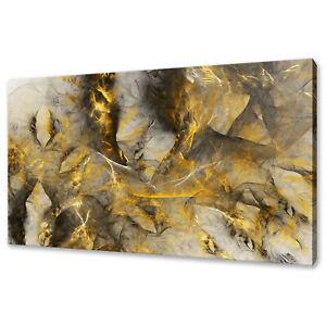 BEAUTIFUL GOLD YELLOW BLACK SMOKE ABSTRACT BOX CANVAS PRINT WALL ART PICTURE