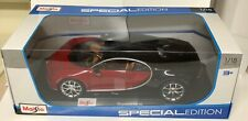 Bugatti Chiron Red/Black/Chrome 1:18 Model Car Maisto Special Edition, New