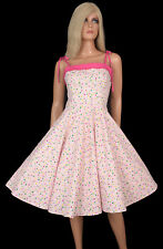 Vintage 50s Inspired Fit Flare SWING  DRESS Pink Polka Dots Pinup Couture Girl