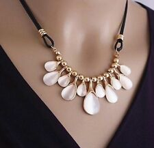 Opal crystal droplets gold toned with black braided rope chain Necklace