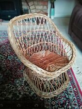 Retro Handmade Woven Wicker Child's Chair, Toy or Plant Display
