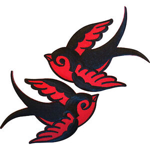 Pair Red Black Iron On Swallow Bird Patches Sew On Embroidered Biker Patch Badge