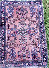 Antique Oriental Carpet Red, w Blue Floral Patterned Rug, with blue wefting