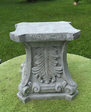 "10"" TALL PLINTH BASE ~ PEDESTAL GRAY CEMENT ANTIQUED WHITE STAND FOR STATUES"