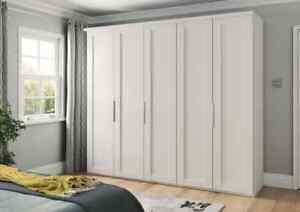 LUXURY GERMAN 250CM WARDROBE BEDROOM FITTED FREE WHITE GREY SILVER WHITE SHAKER