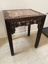 Antique Carved Hardwood Marble Top Chinese Pedestal Inlaid Mother Pearl Stand