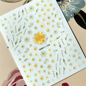 Nail Art Stickers Transfers Decals Daisy Daisies Flowers Floral Fern (HAN104)