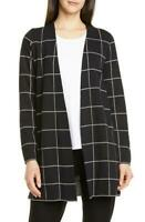Eileen Fisher Black Windowpane Check Wool Open Long Cardigan Sweater Petites PL