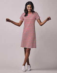 New Crew Clothing Womens Breton Jersey Dress in Red/White