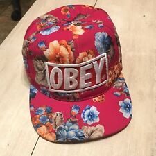 Obey Propaganda Pink Floral  Flowers Vintage Snapback Hat Cap Hawaiian Patch Hat