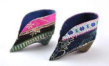 Vintage Chinese Foot Bind Bound Feet Lotus Shoes Silk Handmade MISMATCH