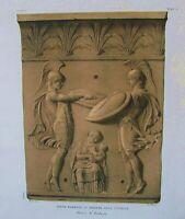 Ancient Rome Terracotta-Tile-Plate I-Orig Folio Lithograph Campana Relief 1851