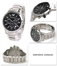 NEW GENUINE EMPORIO ARMANI AR2434 MEN'S STAINLESS STEEL BLACK DIAL MENS WATCH UK