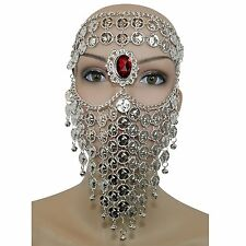 Silver Red Gem Belly Dance Costume Headwear Coins Face Mask Veil Tribal Bedouin